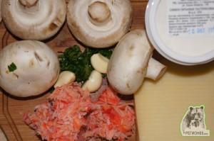 Кулинарный рецепт крабовая соломка с грибами и блины с крабами