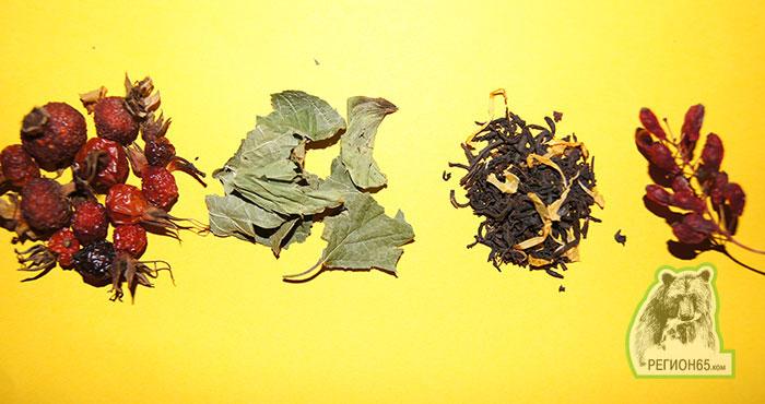 Чай с шиповником, с мятой, с черной смородиной и барбарисом