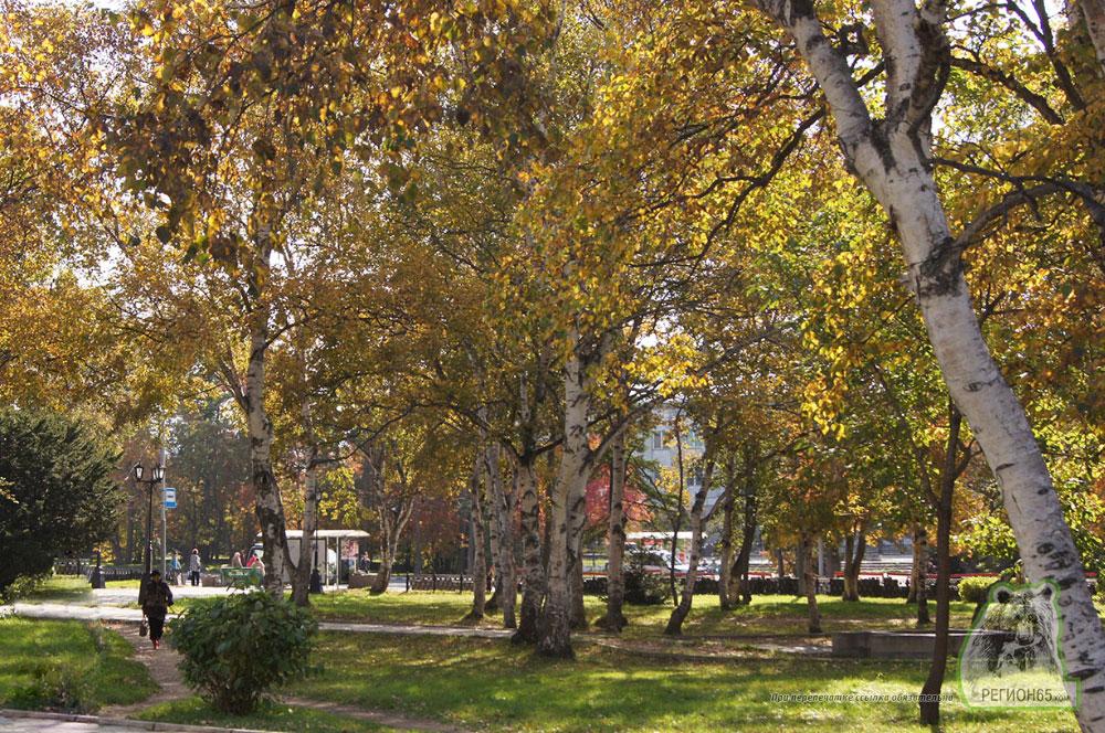 Сквер в Южно-Сахалинске осень 2013