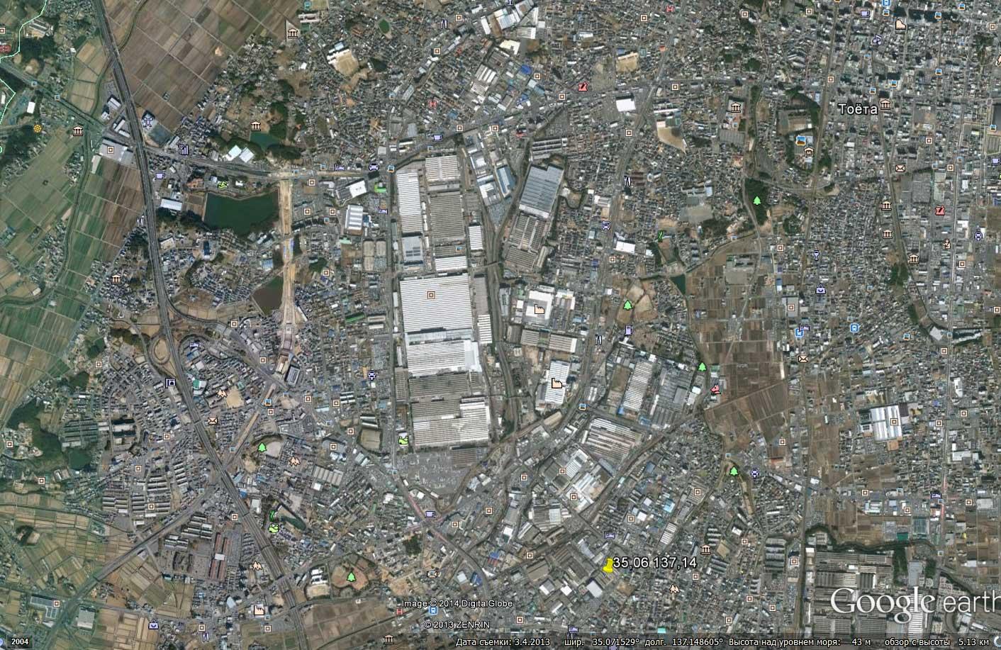 Завод Toyota из космоса