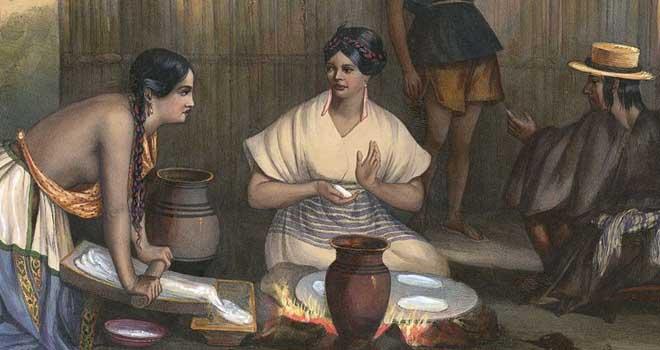 Женщины готовят тортилью (мексиканская литография, 1836 г.)